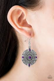 second earrings paparazzi second purple bead floral pattern earrings