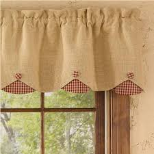 Kitchen Curtains And Valances Burlap Check Red Lined Scallop Valance Gallery And Kitchen