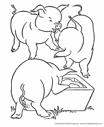 farm animal coloring pages printable pigs feeding coloring page