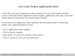 Real Estate Broker Resume Sample by Real Estate Broker Application Letter