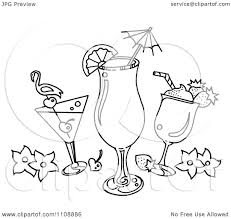 cocktail drawing clipart black and white tropical cocktail beverages royalty free
