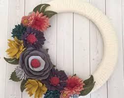 felt flower wreath yarn wreath wrapped wreath felt