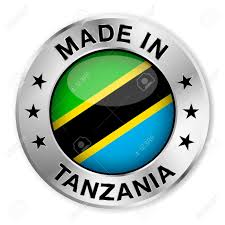 Tanzanian Flag Made In Tanzania Silver Badge And Icon With Central Glossy