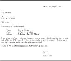 contoh surat izin jika tidak masuk sekolah slamethwy