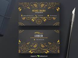 business card with golden ornaments freebcard