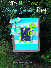 Monogram House Flags Diy No Sew Burlap Garden Flag This Ole Mom