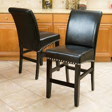 Brown Leather Accent Chair Set Of 2 Amazon Com Clifton Black Leather Counter Stools W Chrome