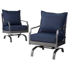 Motion Patio Chairs 2 Metal Patio Motion Club Chair Furniture Set Navy
