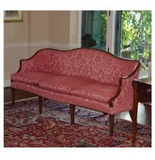 19th century chippendale camel back sofa in mahogany frame and