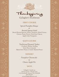 traditional thanksgiving menu at gallagher s steak house resorts