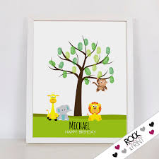 jungle fingerprint etsy jungle fingerprint tree printable pdf monkey baby shower guest book party first birthday memento ideas thumbprint keepsake page
