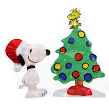 northlight peanuts pre lit 2d snoopy and christmas tree yard art