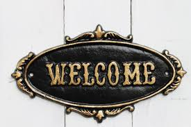jet black welcome sign plaque rustic cast iron old