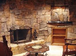 interior excellentstone wall exposed with classic fireplace and