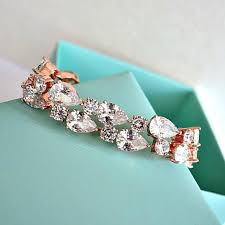gold wedding bracelet images Rose gold cubic zirconia bridal bracelet cz crystal bridal jpg
