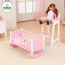 kidkraft darling doll high chair and cradle furniture set in pink
