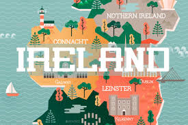 travel map of ireland with landmarks and cities by vectordream