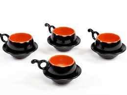 fiesta cup n saucer black and orange set of 4 from the
