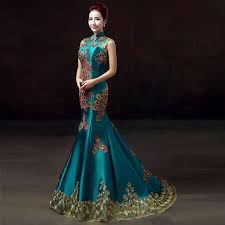 beautiful dress green luxury embroidery party dresses cheongsam wedding