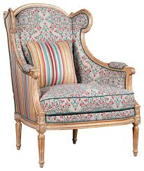 Floral Accent Chair Global Bazaar Walnut Wood Floral Upholstered Arm Chair