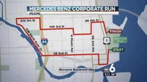 mercedes corporate road closures for 2016 mercedes corporate run nbc 6 south