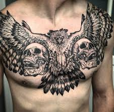 harpy eagle u0026 skulls mens chest piece best tattoo design ideas