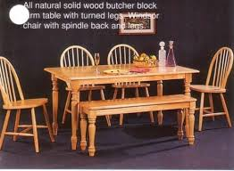Dining Room Table With Chairs And Bench Amazon Com New Butcher Block Farm Dining Table U0026 4 Chairs