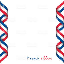 Image Of French Flag Colored Ribbon With The French Tricolor Symbol Of The French Flag