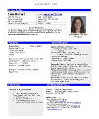 Sample College Graduate Resume by Resume For College Application Template