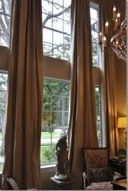 curtain two story great room update tall window treatments