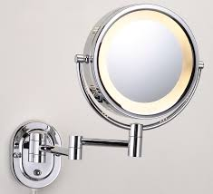 lights elegant wall mount lighted makeup mirror with stainless
