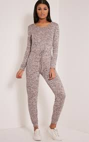 casual jumpsuits lottie dusty pink marl sleeve casual jumpsuit image 1