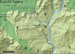 Santa Fe Map Hiking And Exploring U2013 Santa Fe Veraguas Coffee Mountain Inn