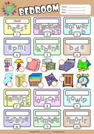 bedroom esl printable worksheets for kids 2