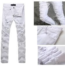 Mens Destroyed Skinny Jeans Ripped White Jeans Mens Bbg Clothing