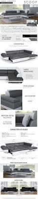 canapé d angle scoop scoop canapé d angle droit convertible 5 places simili gris et