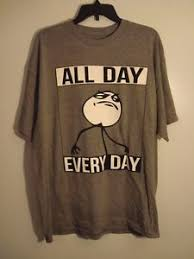 Tshirt Meme - all day every day t shirt mens xl new gray funny meme face hustle