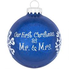 personalized as mr and mrs blue glitter ornament