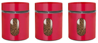 glass storage canisters 3 pc red priority chef