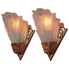 Lightolier Wall Sconce Pair Vintage Lightolier Alabaster And Brass Deco Revival Sconces