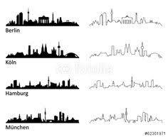 vector art bali city line silhouette typographic design draw