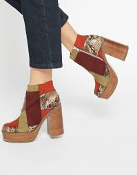 womens boots asos image 1 of asos expression co ord 70s ankle boots mein