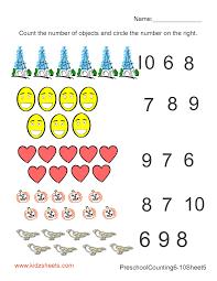 kidz worksheets preschool counting numbers worksheet5