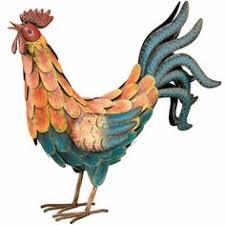 free standing vibrant metal rooster cockerel garden ornament