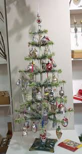 feather tree all decked out in vintage ornaments 42