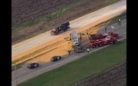 formula 4 crash semi trailer full of corn crashes on hwy 169 spills load wcco