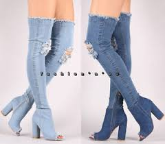s high boots stretch denim thigh high knee ripped jean boots open toe