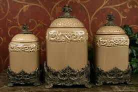 tuscan kitchen canisters set of 3 green fleur de lis kitchen canister set tuscan large