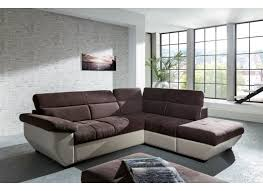 lolet canapé canapé d angle speedway avec fonction lit tissu similicuir brun