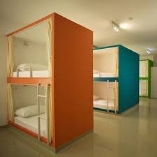 Hostel Bunk Beds In Croatia A Hostel With Mediterranean Colored Bunk Beds The